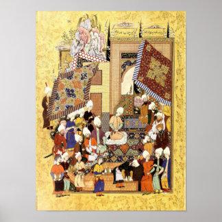 Persische Miniatur: Yusuf und Zulaykhas Hochzeit Poster