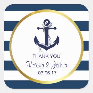 Personalisiert danke Seemarine-Goldhochzeit Quadratischer Aufkleber