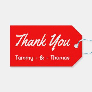 Personalisiert danken Sie Ihnen rot und weißen Geschenkanhänger