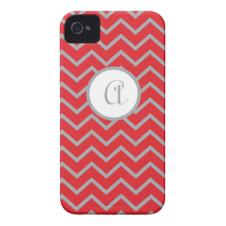 Personalisiert, rot mit grauem Zickzack iPhone iPhone 4 Hülle