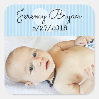 Personalisierte Baby-Foto-Aufkleber-blauer Quadratischer Aufkleber