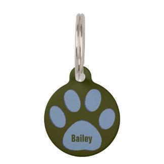 personalisierte blaue Hundetatze Tiermarke Mit Namen