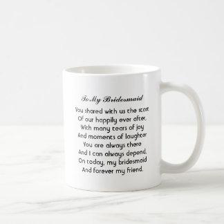 """Personalisierte """"Brautjungfern-"""" Tasse mit Gedicht"""