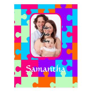 Personalisierte bunte Laubsäge Postkarte