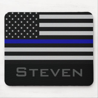 Personalisierte dünne blaue Namenslinie Flagge Mousepad