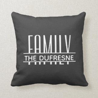 Personalisierte Familie u. Streifen grau Kissen