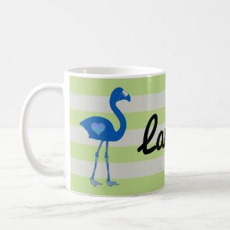 Personalisierte Flamingo-Herz-Tasse (Blau-Neon) Tasse