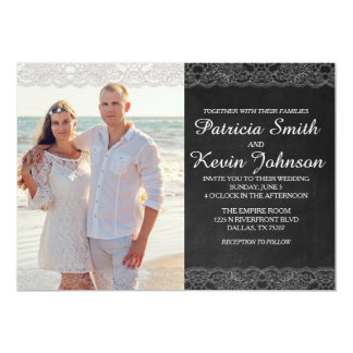Personalisierte Foto-Schwarz-Hochzeit 12,7 X 17,8 Cm Einladungskarte
