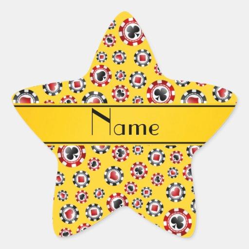 Personalisierte gelbe Pokernamenschips Stern Aufkleber