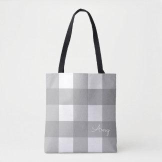 Personalisierte graue und weiße Büffel-Karo-Tasche