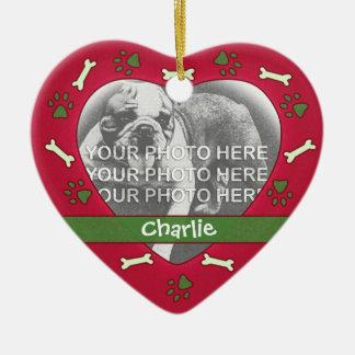 Personalisierte Haustier-Foto-Verzierung Keramik Herz-Ornament