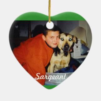 Personalisierte Haustier-Verzierungen - Doppeltes Keramik Herz-Ornament