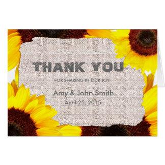 Personalisierte Hochzeit der Sonnenblume danken Mitteilungskarte