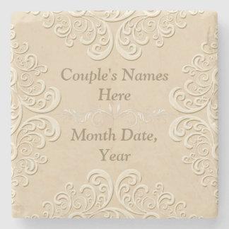 Personalisierte Hochzeits-MarmorierungUntersetzer Steinuntersetzer