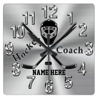 Personalisierte Hockey-Zug-Geschenke mit Namen Quadratische Wanduhr