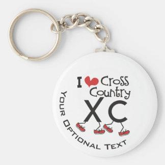 Personalisierte i-Herz-Liebe Querland, das XC Standard Runder Schlüsselanhänger