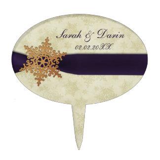 personalisierte Kuchen-Auswahl der lila Schneefloc Tortenaufsatz