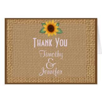 Personalisierte Leinwand-Sonnenblume danken Ihnen Grußkarte