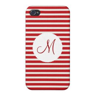 Personalisierte Monogramm-Initialen-rotes Weiß iPhone 4 Hüllen