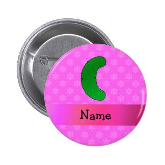 Personalisierte Namensessiggurkenrosaschneeflocken Runder Button 5,7 Cm