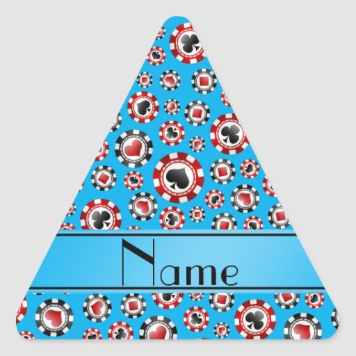 Personalisierte Namenshimmelblau-Pokerchips Dreieckaufkleber
