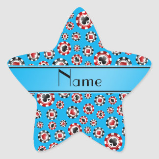 Personalisierte Namenshimmelblau-Pokerchips Stern Aufkleber