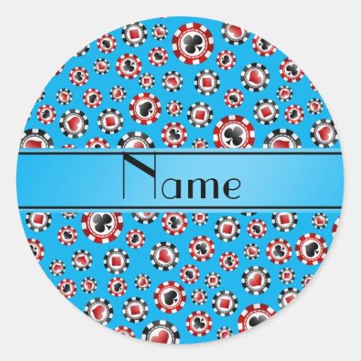 Personalisierte Namenshimmelblau-Pokerchips Runde Aufkleber