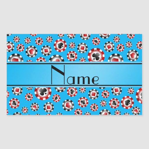 Personalisierte Namenshimmelblau-Pokerchips Rechtecksticker