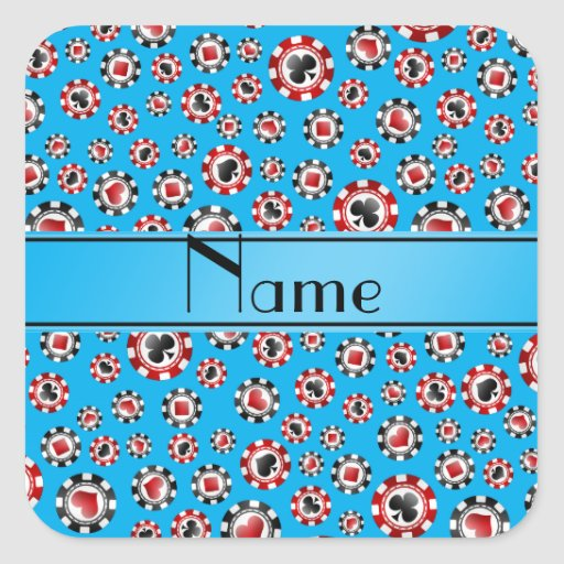 Personalisierte Namenshimmelblau-Pokerchips Quadratsticker