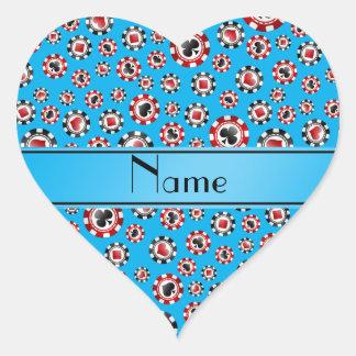 Personalisierte Namenshimmelblau-Pokerchips Herzaufkleber