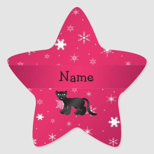 Personalisierte Namenspantherrosaschneeflocken Aufkleber