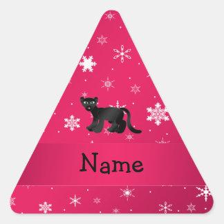 Personalisierte Namenspantherrosaschneeflocken Dreieckiger Aufkleber