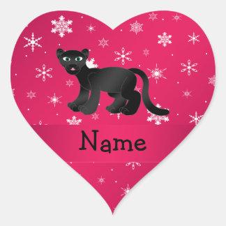 Personalisierte Namenspantherrosaschneeflocken Herz-Aufkleber