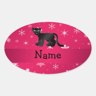 Personalisierte Namenspantherrosaschneeflocken Ovaler Aufkleber