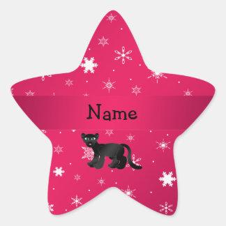 Personalisierte Namenspantherrosaschneeflocken Stern Aufkleber
