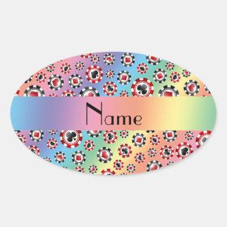 Personalisierte Namensregenbogen-Pokerchips Ovaler Aufkleber