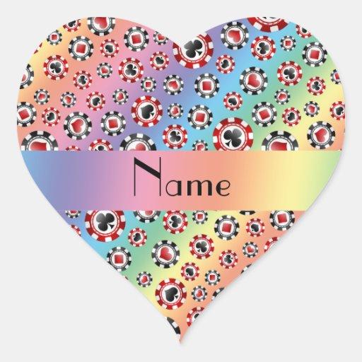 Personalisierte Namensregenbogen-Pokerchips Herzaufkleber