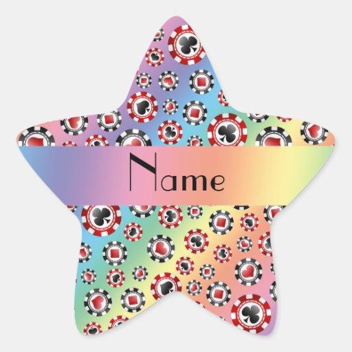 Personalisierte Namensregenbogen-Pokerchips Stern Aufkleber