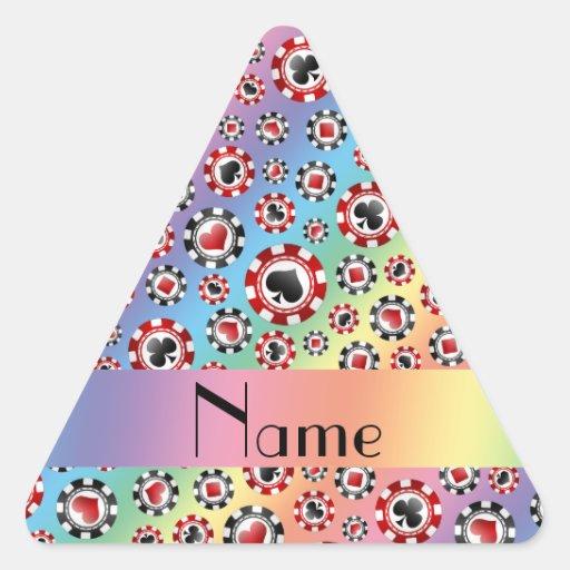 Personalisierte Namensregenbogen-Pokerchips Dreieckige Aufkleber