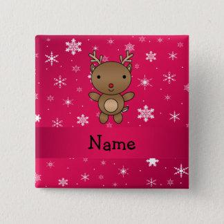 Personalisierte Namensrenrosaschneeflocken Quadratischer Button 5,1 Cm