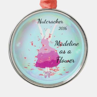 Personalisierte Nussknacker-Verzierung - Blume Silbernes Ornament