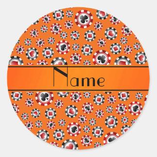 Personalisierte orange Pokernamenschips Runder Aufkleber