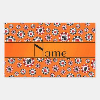 Personalisierte orange Pokernamenschips Rechtecksticker