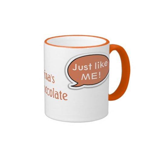 Personalisierte orange Sprache-Blasen-heiße Schoko Kaffeehaferl