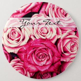 Personalisierte romantische rosa Rosen Runder Button 15,3 Cm