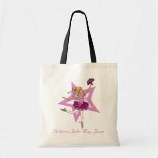 Personalisierte rosa Ballettnamenstasche der Budget Stoffbeutel