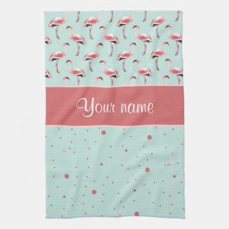 Personalisierte rosa Flamingo-Polka-Punkte Küchentuch