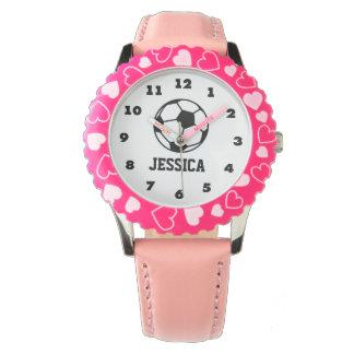 personalisierte rosa Fußbalballuhr für Mädchen Handuhr