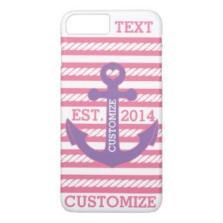 Personalisierte rosa lila Anker-nautischstreifen iPhone 8 Plus/7 Plus Hülle