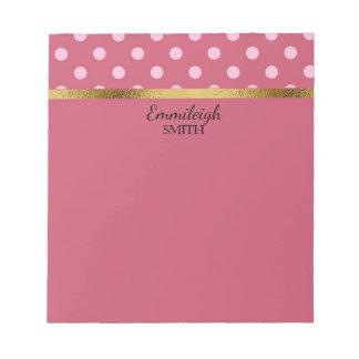 Personalisierte rosa Polka-Punkte und Gold Notizblock